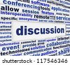 Discussion poster design. Global communication message background concept - stock photo