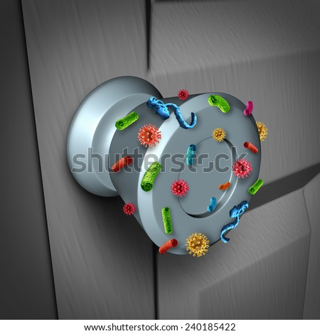 Disease spread and the dangers of spreading germs in public as a health care risk concept to  not wash your hands as a dirty infected door knob with microscopic viruses and bacteria. - stock photo