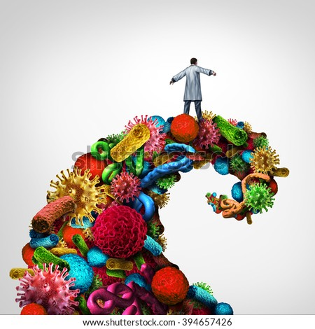 Disease struggle and immunology medical health concept as a doctor riding a dangerous wave made of bacteria virus and cancer cells as a healthcare symbol for pathology and research for a cure. - stock photo