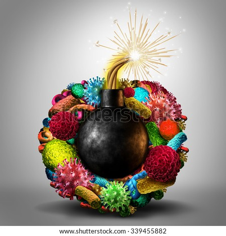 Disease time bomb medical health risk concept as a group of viruses bacteria and disease cells shaped as a lit bomb as a deadly risk metaphor for human infection risk. - stock photo