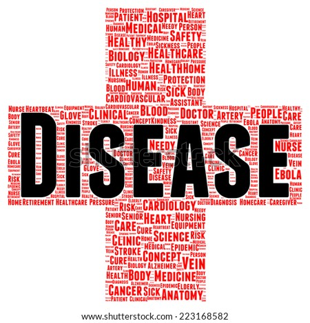 Disease word cloud shape concept