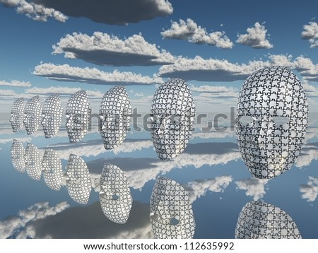 Disembodied puzzled faces hover - stock photo