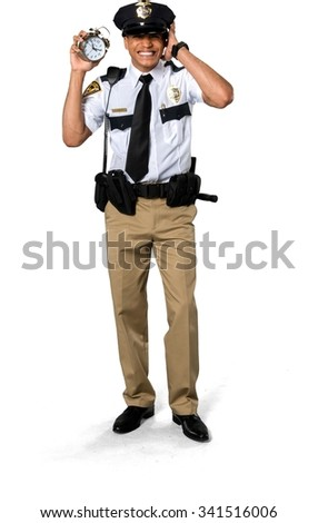 Disgusted African young man with short black hair in uniform holding alarm clock - Isolated - stock photo