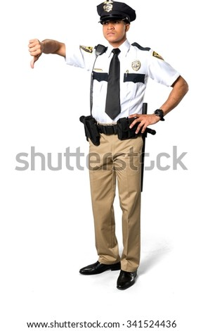 Disgusted African young man with short black hair in uniform with hands on hips - Isolated - stock photo