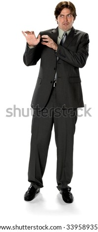 Disgusted Caucasian man with short dark brown hair in business formal outfit shrugs - Isolated