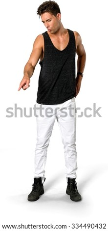Disgusted Caucasian young man with short medium brown hair in casual outfit with hands on hips - Isolated - stock photo