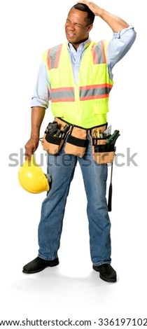 Disgusted Male Construction Worker with short black hair in uniform hurt his head - Isolated - stock photo