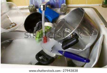 disgusting dirty sink full with dirty dishes - stock photo