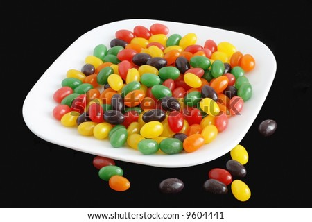 Dish full of jelly beans for easter - stock photo
