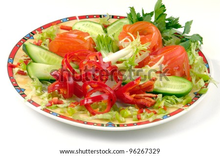 Dish Salad ?n a white background