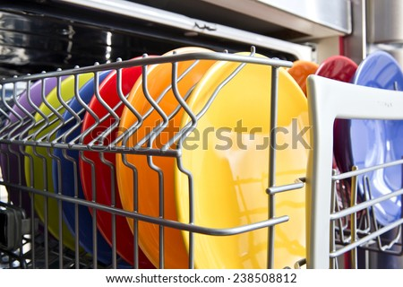 Dish-washer machine with colorful plate - stock photo