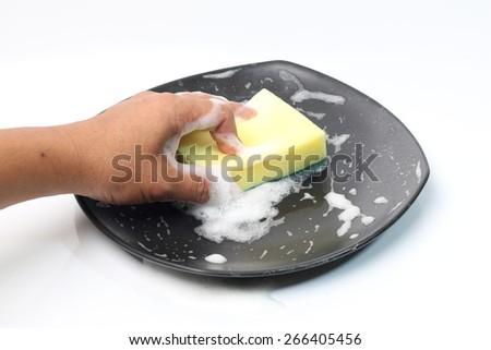 Dish washing. - stock photo