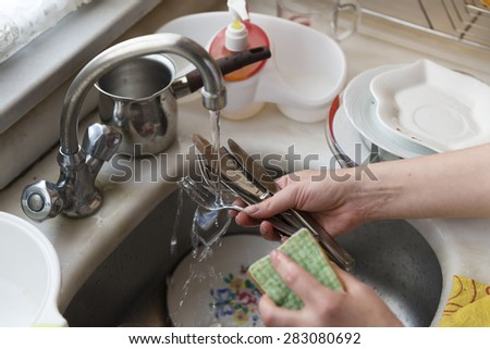 dish washing - stock photo