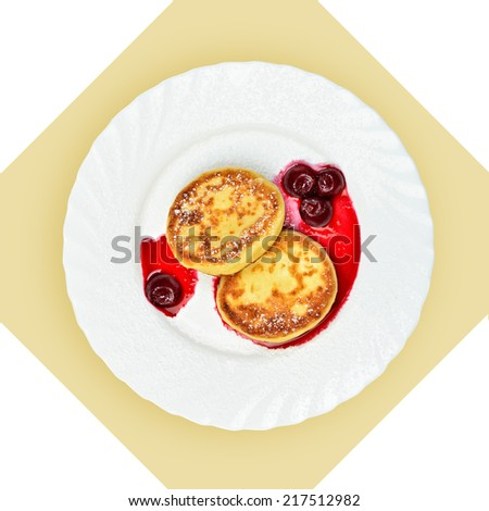 Dish with dumplings on white plate. Isolated image with white background. View from above. still life of setout table  Russian cuisine