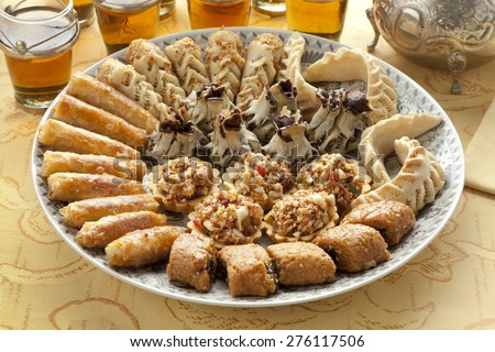 Dish with fresh baked Moroccan cookies - stock photo