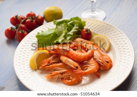 dish with shrimp and salad