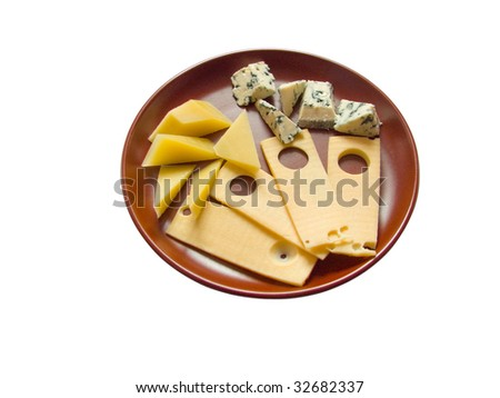 Dish with snack from several sorts of the tasty aromatic cheese - stock photo