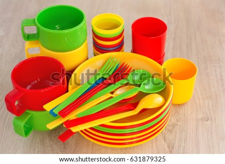 Dishes Plastic Picnic C&ing Plastic Tableware Stock Photo (Royalty Free) 631879325 - Shutterstock & Dishes Plastic Picnic Camping Plastic Tableware Stock Photo (Royalty ...
