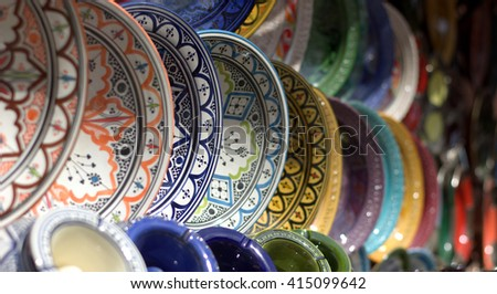 Dishes in the colorful markets of the East - stock photo