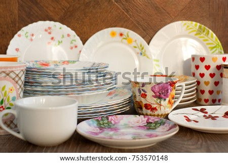 Dishes Different Kind Shape Sets Plates Stock Photo (Edit Now)- Shutterstock & Dishes Different Kind Shape Sets Plates Stock Photo (Edit Now ...