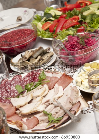 Dishes on a dining table - stock photo