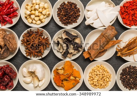 dishes prepared with medicinal herbs Chinese medicine - stock photo