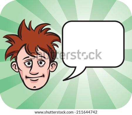 dishevelled face with speech bubble - stock photo