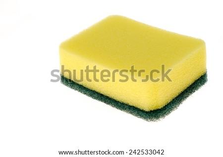 Dishwasher sponge on white background  - stock photo