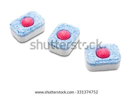 Dishwasher tablets on white background isolated - stock photo