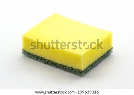 Dishwashing sponge, household cleaning sponge for cleaning. - stock photo