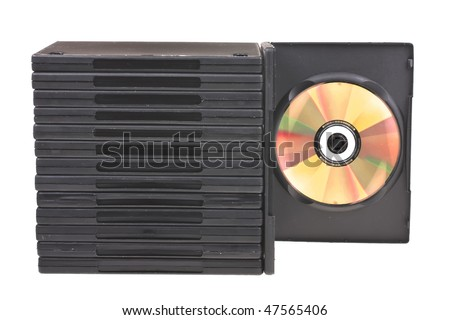 disk and DVD boxes isolated on white background - stock photo