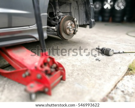 disk brake or tire fixing at the garage, Selective focus
