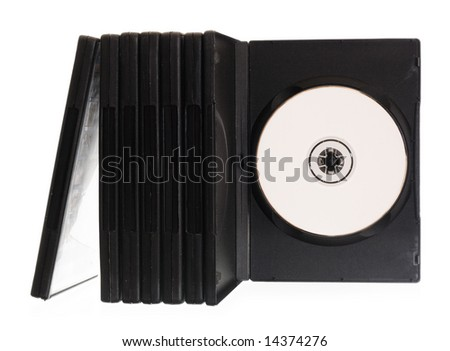 disk, DVD boxes isolated on white background - stock photo