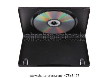 Disk in DVD box isolated on white background - stock photo