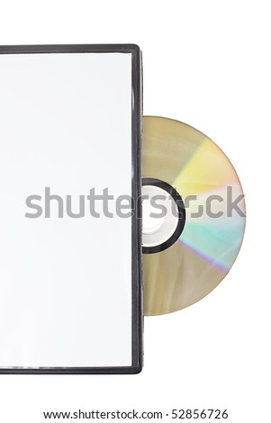 Disk in white DVD box isolated on white background - stock photo