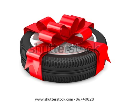 disk wheel on white background. Isolated 3D image - stock photo