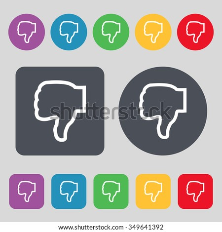 Dislike icon sign. A set of 12 colored buttons. Flat design. illustration - stock photo