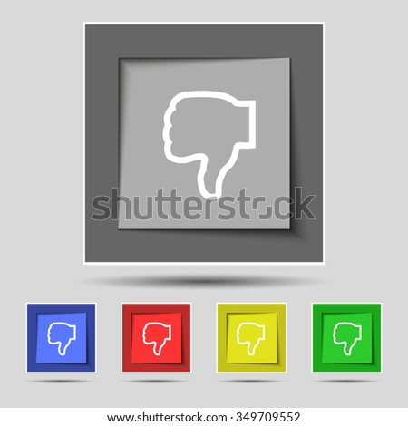 Dislike icon sign on original five colored buttons. illustration - stock photo