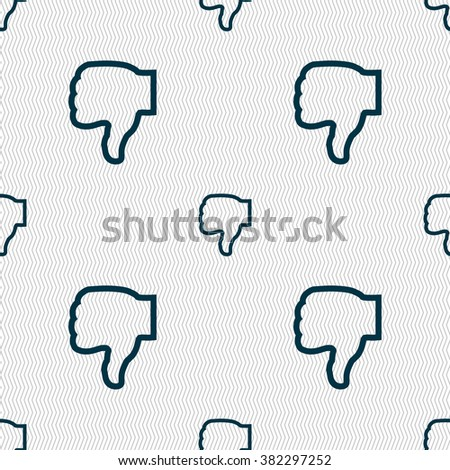 Dislike icon sign. Seamless pattern with geometric texture. illustration - stock photo