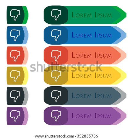 Dislike icon sign. Set of colorful, bright long buttons with additional small modules. Flat design.  - stock photo