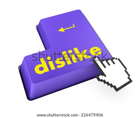 dislike key on keyboard for anti social media concepts like  - stock photo
