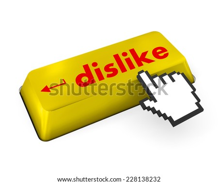 dislike key on keyboard for anti social media concepts , like, social media - stock photo
