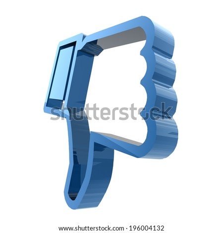 DISLIKE. Thumbs down sign in blue. 3d render. Isolated on white background.  - stock photo