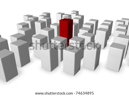 disorder of white cubes and one in red - 3d illustration