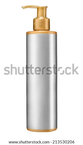 Dispenser pump cosmetic or hygiene, plastic bottle of gel, liquid soap, lotion, cream, shampoo / studio photography of plastic bottle with body balm moisturising and smoothing - isolated on white  - stock photo