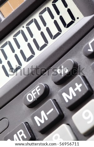 Display and buttons of calculator super close-up