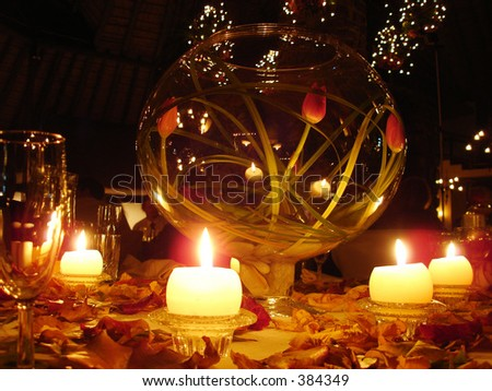 Display bowl of flowers at a wedding - stock photo