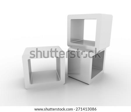 Display equipment, copy space image, original three dimensional models. - stock photo