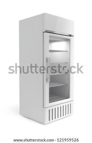 Display fridge on white background - stock photo
