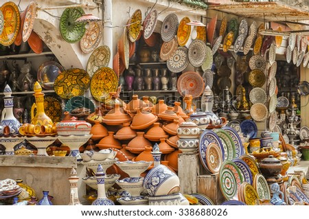 Display of ceramic craft in Marrakesh, Morocco - stock photo